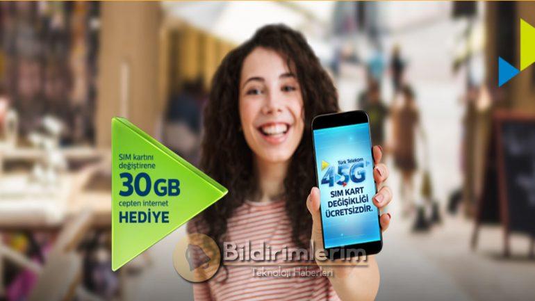 1 Ay Geçerli Türk Telekom 30 GB Bedava internet