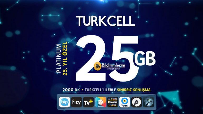 Platinum 25. Yıl Paketi Turkcell Faturalı Tarifesi
