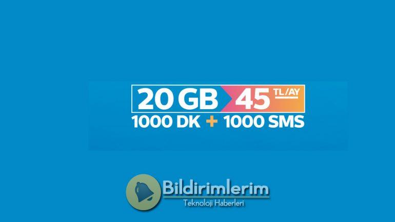 Türk Telekom Prime Efsane 20 Tarifesi, Paketi