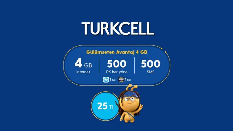 Turkcell Yeni Gülümseten Avantaj 4 GB Paketi
